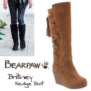 BearPaw ベアパウ Britney ヒッコリー 本革 ウェッジ シープスキン バックレースアップ スエード ロング  ブーツ正規品 送料無料 US直輸入|amscloset