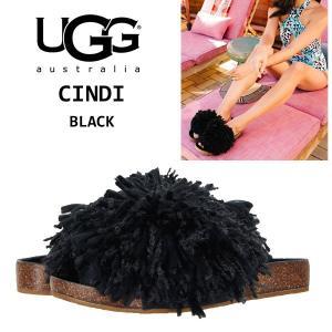 UGG Cindi アグ シンディ ブラック スライド サンダル もこもこ ふさふさ ヤーンフリンジ フラット Black 黒 正規品・送料無料・US直輸入|amscloset