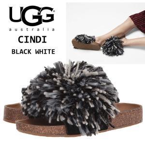 UGG Cindi アグ シンディ ブラックホワイト スライド サンダル もこもこ ふさふさ ヤーンフリンジ フラット グレー 正規品・送料無料・US直輸入|amscloset