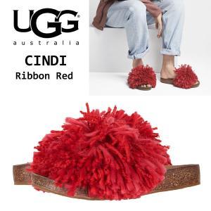 UGG Cindi アグ シンディ リボンレッド 赤 スライド サンダル もこもこ ふさふさ ヤーンフリンジ フラット  正規品・送料無料・US直輸入|amscloset