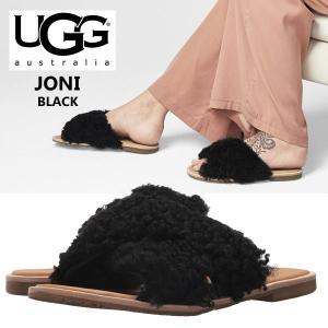 UGG Joni アグ ジョニ ブラック スライド サンダル もこもこ クロスデザイン フラット ファーサンダル   正規品・送料無料・US直輸入|amscloset