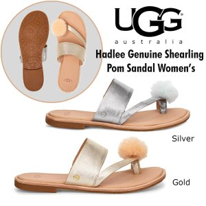 UGG Hadlee metalic  アグ サンダル トング ポンポン ゴールド シルバー フラット 1101349  日本未発売  正規品・送料無料・US直輸入|amscloset