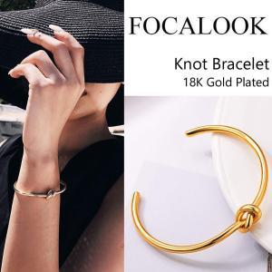 即日発送!Focalook フォカルック 18K ゴールドプレーテッド Knot Bracelet ノットバングル バングル ブレスレット 送料無料 US直輸入|amscloset