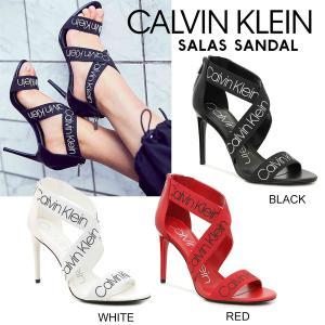 Calvin Klein SALAS カルバンクライン ロゴストラップ クロスストラップ ヒール サンダル レディース 黒 白 赤 正規品 送料無料 US直輸入|amscloset