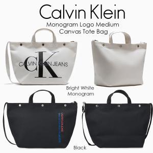 Calvin Klein カルバンクライン Monogram Logo Medium Canvas Tote Bag モノグラム ロゴ トートバック 2way 斜め掛け 正規品 送料無料 US直輸入|amscloset