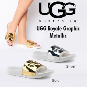 UGG ROYALE GRAPHIC METALLIC  アグ ロイヤル グラフィック メタリック ゴールド シルバー ロゴ入り  スライド サンダル 正規品 送料無料 US直輸入|amscloset