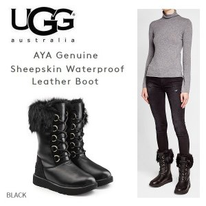 UGG AYA sheepskin waterproof アグ トスカーナ シープスキン ウォータープルーフ レースアップ ブーツ レディース black 黒 正規品・送料無料・US直輸入|amscloset