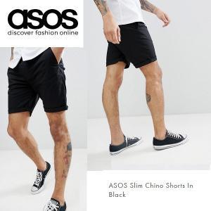 ASOS エイソス スリム チノ ショートパンツ ショーツ ブラック 黒 細身 メンズ 正規品 送料無料|amscloset