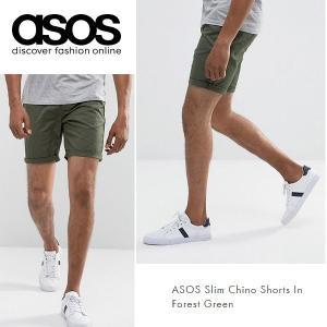 ASOS エイソス スリム チノ ショートパンツ ショーツ フォレストグリーン 細身 メンズ 正規品 送料無料|amscloset