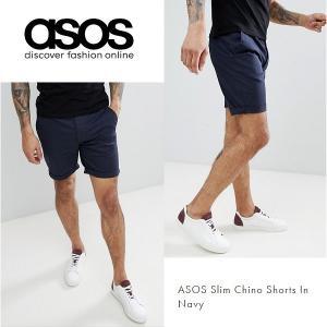 ASOS エイソス スリム チノ ショートパンツ ショーツ ネイビー 細身 メンズ 正規品 送料無料|amscloset