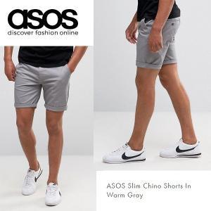 ASOS エイソス スリム チノ ショートパンツ ショーツ Warm Gray グレー 細身 メンズ 正規品 送料無料|amscloset
