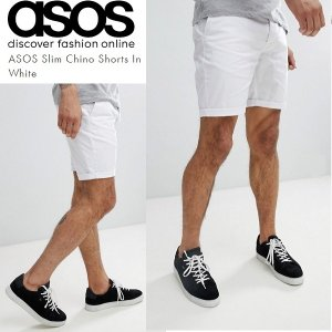 ASOS エイソス スリム チノ ショートパンツ ショーツ ホワイト 白 細身 メンズ 正規品 送料無料|amscloset