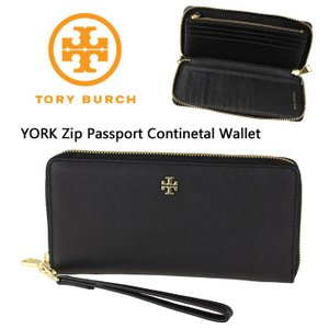 Tory Burch トリーバーチ York Zip Passport continental Wallet  長財布 黒 ストラップ付 40882  正規品 送料無料 US直輸入 amscloset