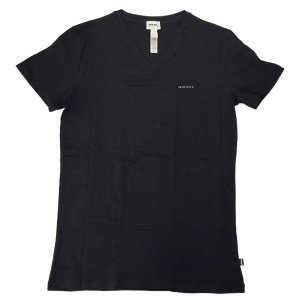 ディーゼル Tシャツ DIESEL インナーウェア アンダーウェア 下着 Vネック メンズ ブラック Sサイズ 00SHGU 0QAHF 02 amulet