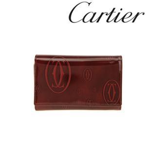 カルティエ 財布 Cartier ハッピーバースデイ 二つ折り財布 L字ファスナー カーフ ボルドー 3000347/メンズ/レディース|amulet