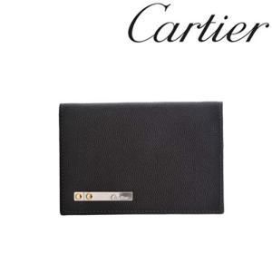 カルティエ カードケース Cartier 名刺入れ サントス 型押しカーフ ブラック 3000771/メンズ/レディース|amulet