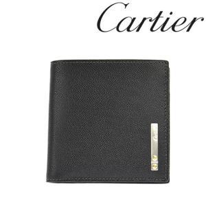 カルティエ 財布 Cartier サントス 二つ折り財布 型押しカーフ ブラック 3000772/メンズ/レディース|amulet