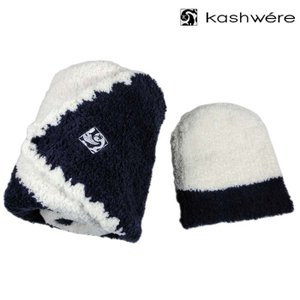【kashwere】 カシウエア ベビーブランケット センターストライプ&キャップ ネイビー×クリーム BOX・ショップ袋付 bb-69c-81-30 ] 新品 本物|amulet