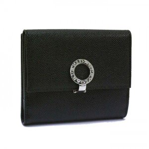 ブルガリ 財布 BVLGARI Wホック 2つ折り財布 グレインレザー ブラック 30410   レディース メンズ ブランド 新作|amulet