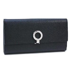 ブルガリ 長財布 BVLGARI Wホック折り財布 革 グレインレザー ブラック 30416   レディース メンズ ブランド 新作|amulet