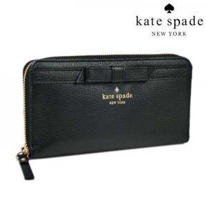 ケイト スペード 財布 KATE SPADE ラウンドファスナー リボン長財布 / ブラック PWRU3940 001 メンズ レディース|amulet