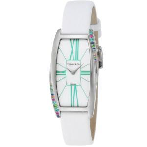 ティファニー 腕時計 TIFFANY&CO. 時計 ジェメア カラーストーン サテンレザー ホワイト レディース Z64011010G29A 48G/メンズ/レディース|amulet