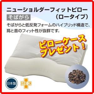 フランスベッド ニューショルダーフィットピロー(そばがら&低反発フォーム) ロータイプ 日本製 制菌加工|amuseland