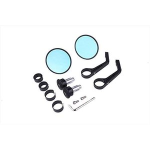 汎用バイクミラー バーエンドミラー CNC ミラー (ブラック) (ブラック)