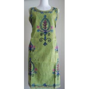 エプロンドレス インド綿刺繍 幾何学模様 グリーン 保育師さんやお母さんへ フリーサイズワンピース