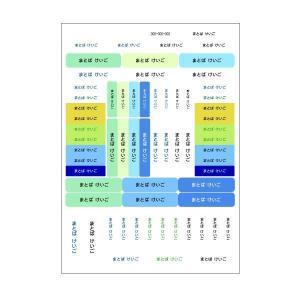 お名前シール:お名前ラミネートシール同柄2枚セット ブルー【入園・入学準備に】186