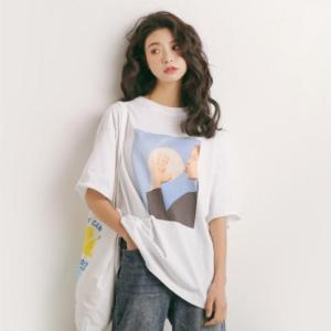 37a0046768e0 レディース ビッグTシャツ ビッグシルエット トップス オルチャン 韓国系 インスタ映え 半袖 五分袖 トレンド ゆったり 体型カバー 白 ブルー