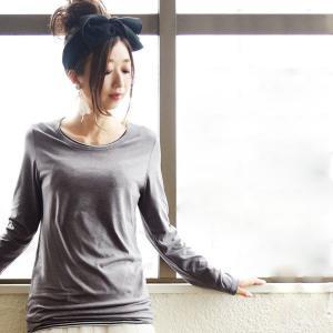 長袖カットソー/トップス/ストレッチ/無地/レディース|andit
