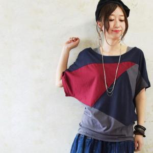 tシャツ レディース 半袖 20代 30代 40代 夏 ロング 日本製 カットソー ドルマン 重ね着 丸首 トップス おしゃれの画像