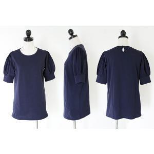 パフスリーブ/半袖カットソー/Tシャツ/無地/トップス/レディース|andit|10