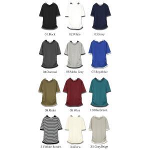 Tシャツ レディース カットソー 半袖 おしゃれ トップス 5分袖 フェイクレイヤード|andit|02