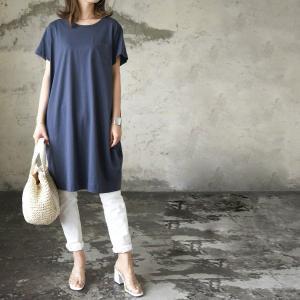 コクーンワンピース レディースファッション 半袖カットソー トップス Tシャツ チュニック ポケット付き|andit