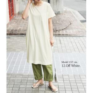 コクーンワンピース レディースファッション 半袖カットソー トップス Tシャツ チュニック ポケット付き|andit|12