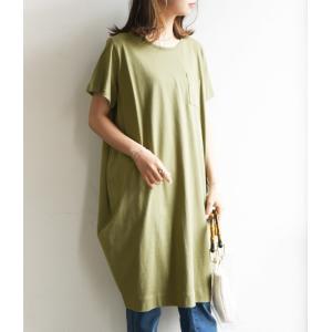コクーンワンピース レディースファッション 半袖カットソー トップス Tシャツ チュニック ポケット付き|andit|15