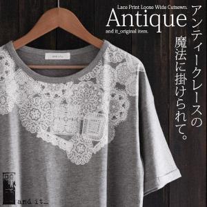 カットソー Tシャツ レディース トップス 半袖 5分袖 プリントTシャツ|andit