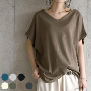 半袖tシャツ レディース カットソー 春夏 20代 30代 40代 Vネック トップス 綿100 コットン 日本製 おしゃれの画像