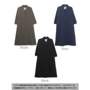 ワンピース/ロング丈/マキシワンピ/長袖/Vネック/スキッパー/レディース|andit|02