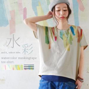 半袖カットソー/トップス/Tシャツ/水彩プリント/マスキングテープ風/レディース