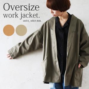 テーラードジャケット オーバーサイズ ミリタリー コート 羽織り ライトアウター レディース|andit
