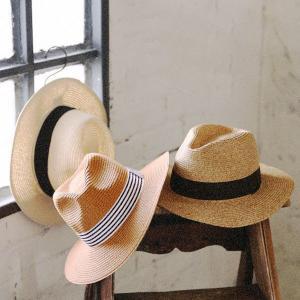 ペーパーハット 麦わら帽子 ストライプ ナチュラル おしゃれ 紫外線対策 ファッション小物 andit