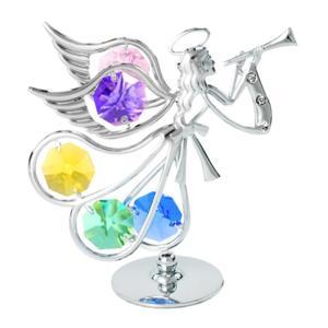 歓喜の笛を吹く天使の置物は御自身の宝物、 誕生日プレゼントとして。シルバー タイプ。 クリスタルの色...