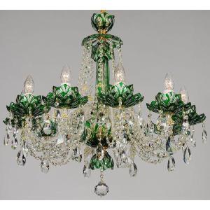 美しい緑色の高級切子シャンデリア CH−10ロータス・グリーン/10灯|andromeda