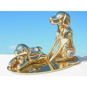スワロフスキー クリスタル 誕生日 プレゼント 子供 犬 イヌ 戌年 お祝い ギフト 記念日 親子の犬の置物|andromeda