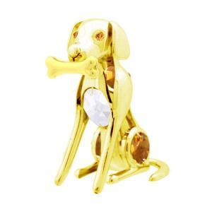 お祝い ギフト スワロフスキー クリスタル 誕生日 プレゼント 縁起物 子供 記念日 置き物 骨をくわえた 犬 置物|andromeda