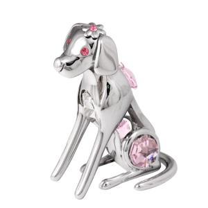 クリスタル スワロフスキー プレゼント ギフト 誕生日 縁起物 子供 お祝い 記念日 置き物 花飾り 犬 置物2|andromeda