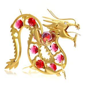 ギフト  プレゼント 誕生日 クリスタル スワロフスキー 女性 男性 縁起物 龍 ドラゴン 辰年 お祝い 記念日 置き物 赤龍 置物|andromeda